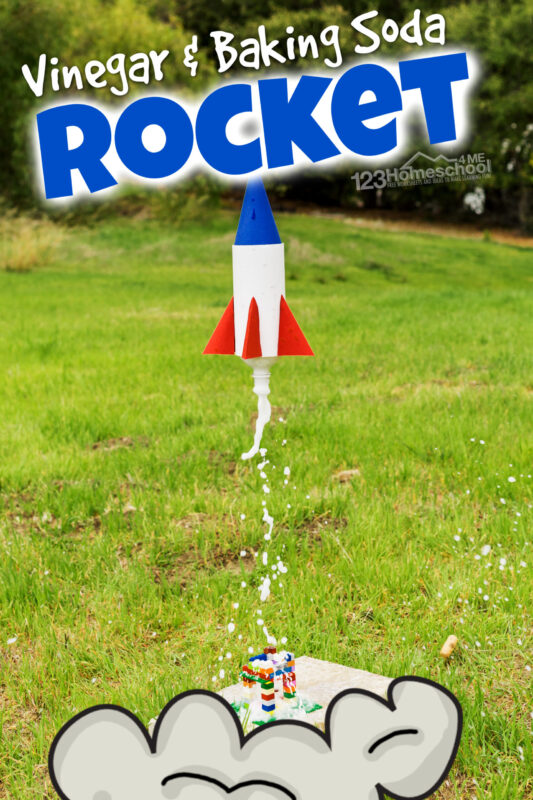 This vinegar and baking soda rocket is an out-of-this-world fun AND educational summer activity for kids! Preschool, pre-k, kindergarten, first grade, 2nd grade, 3rd grade, 4th grade, 5th grade, and 6th grade students will enjoy making the baking soda rocket. This how to make a bottle rocketproject is one of those really cool science projects your kids will remember forever!