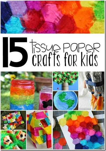 15 Amazing Tissue Paper Crafts for Kids - So many really pretty, colorful, fun, and unique kids activities for kids of all ages!