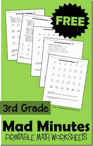 FREE 3rd Grade Math Worksheets - Help third grade students practice math with these free printable math worksheets. We use them as Mad Minutes a math game (explained in post) #math #3rdgrade #mathworksheets #freeworksheets #homeschool #3rdgrademath #mathgames