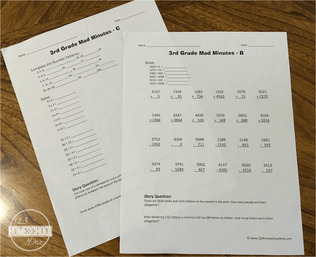 mad minute math is a fun, math game using these FREE 3rd grade math worksheets