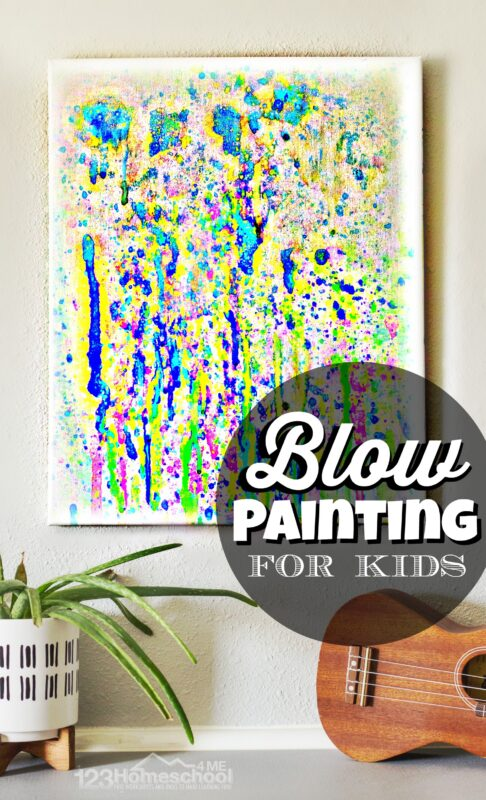 Blow Painting for Kids - fun summer craft for kids that uses blowing bubbles to make striking summer art projects for toddler, preschool, pre k, kindergarten, and elementary age kids. This is a must try summer activities for kids to add to your summer bucket list ideas!