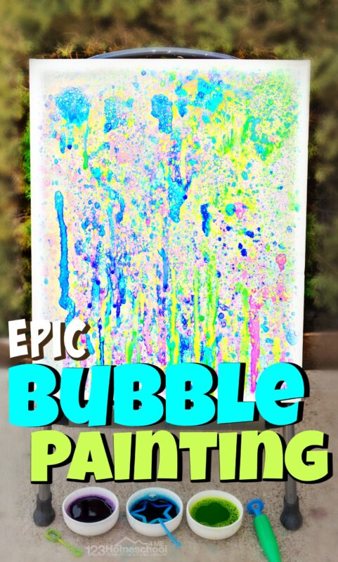 Do your kid love blowing bubbles? This bubble painting is a fun twist on that classic childhood. As children blow bubbles they will be making a really cool bubble art for kids. Toddler, preschool, pre-k, kindergarten, first grade, 2nd grade, and 3rd graders will create a modern masterpieces with this outside art project. The bold colors, fun splatter effect, and memories you make will be beautifully preserved on this fun bubble painting on canvas.Thisblow painting is fun for a summer or spring activity for kids!