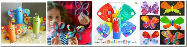 Cardboard Roll Butterfly Crafts for Kids