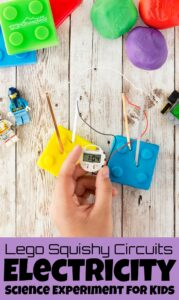 Looking for that really cool science experiment for kids that grabs kids attention, teaches, and makes them say WOW! This squishy circuits project is fun and easy to do with a kid-approve Lego theme to keep preschool, pre-k, kindergarten, first grade, 2nd grade, 3rd grade, 4th grade, 5th grade, and 6th grade students engaged. All you need are a few simple materials to try this Electricity Science Experimentsand you are ready to play and learn! There are so many fun variations for thiselectricity experiments for kids