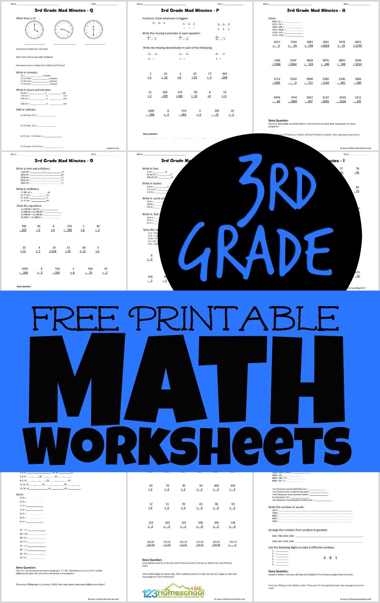 Free Printable 3rd Grade Math Minutes Worksheets Pdf