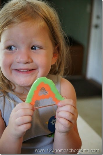 Preschooler Alphabet Craft - learn lettesr with metled pony bead craft