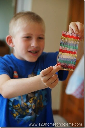 Rainbow craft for kids with pony beads