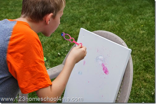 Blowing bubbles art project for kids
