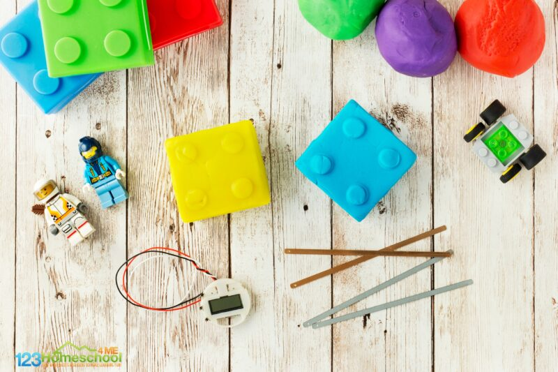 make a lego squishy circuit to make your own clock as an easy science project for elementary age kids