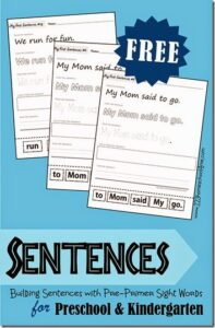 Practice building sentences with these sight word worksheets to read, trace, write, and cut and paste