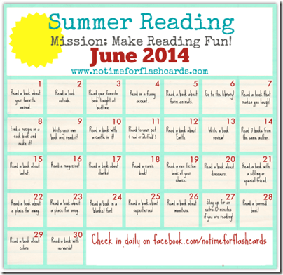 Summer Reading Calendars with Missions to Make Reading Fun