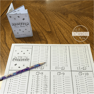 FREE printable addition worksheets that fold into a cute math book; perfect for extra practice in kindergarten math, grade 1 math