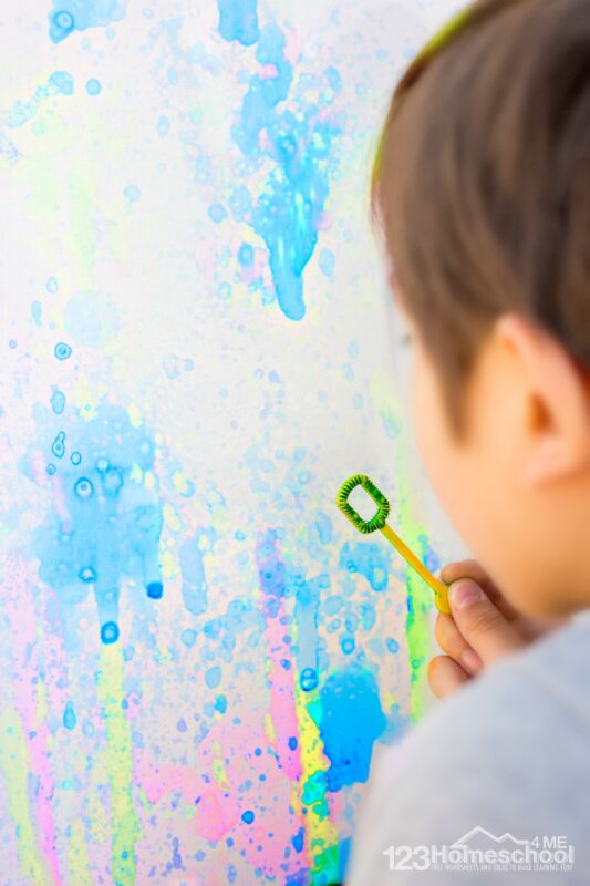 bubble art - fun, silly play activity for kids of all ages to try this spring or summer