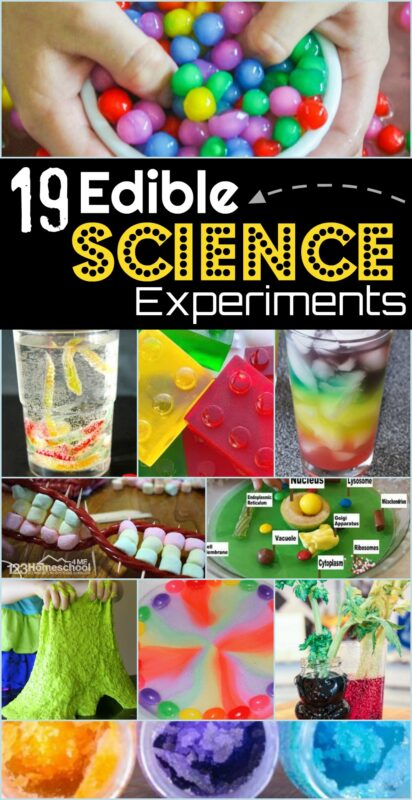 Help your kids dive into the exciting world of science with these really FUN, Edible Science Experiments.There are so many colorful, silly, and funedible science projects to explain a variety of principles. Use theseedible projects with preschool pre-k, kindergarten, first grade, 2nd grade, 3rd grade, 4th grade, 5th grade, and 6th graders too. The hardest part is deciding whichedible science to dry first!