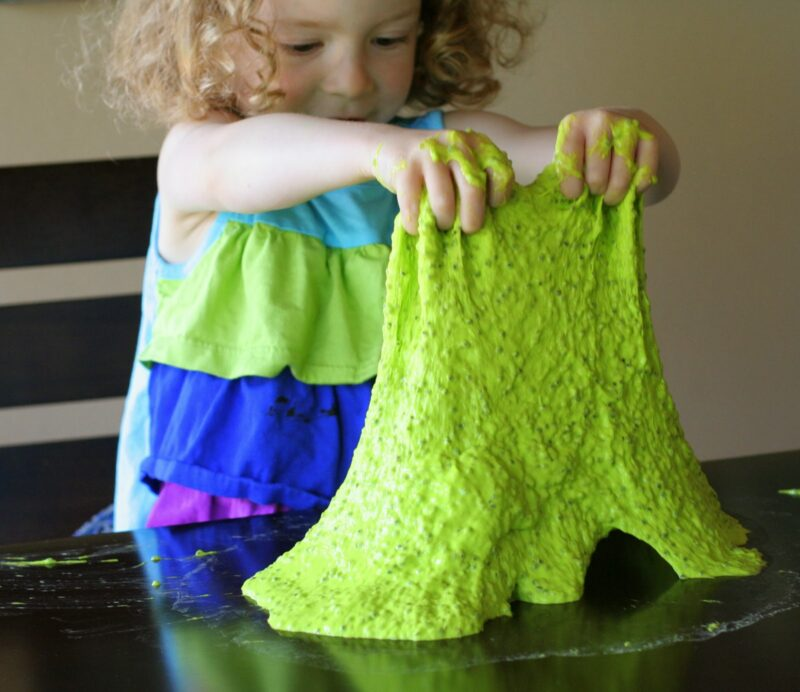 Slime is not only fun to play with and EDIBLE with this Edible Slime Recipe, but it is also a great way to teach kids about non-Newtonian fluids. So what is a non-Newtonian fluid? It is substance that is neither a liquid or a solid - It can be picked up like a solid and also will ooze like a liquid. Slime changes shape to fill whatever container it is in, but will also bounce like a ball because of its elasticity.