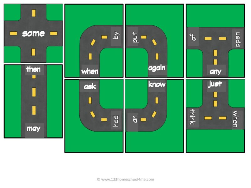 free printable first grade sight words games
