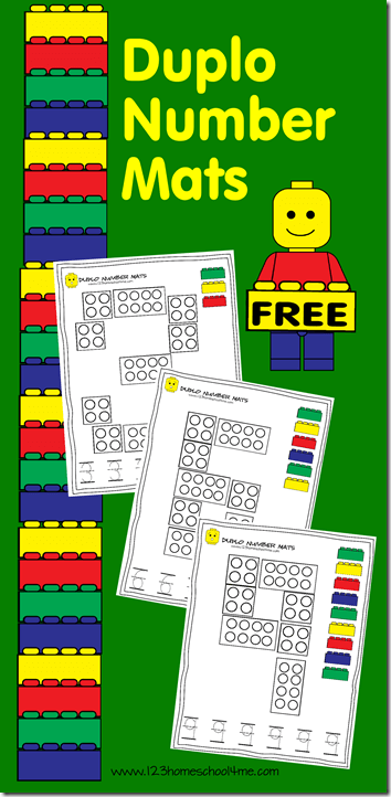 FREE Lego Number Mats - Help kids practice writing numbers 1-10 with these FREE lego printables for preschoolers and kindergartners #lego #counting #writingnumbers