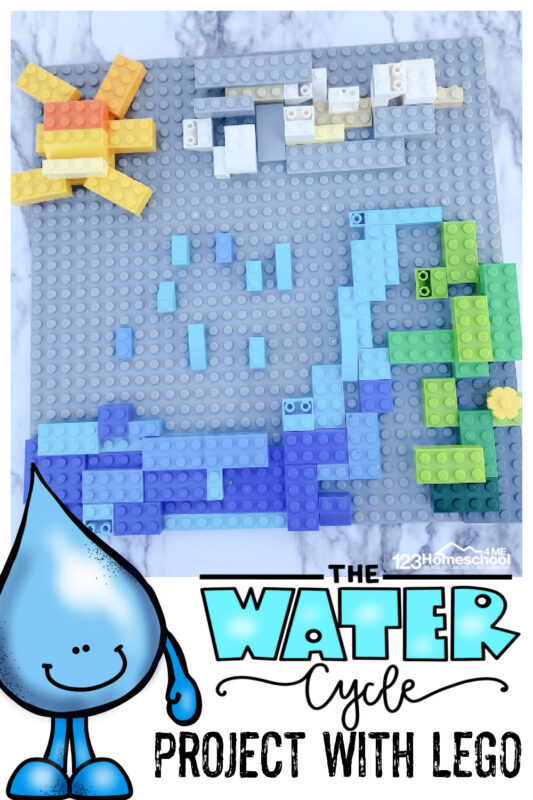 We made a Lego Water Cycle to help kids visualize what we learned. We've made other water cycle crafts and my kids all loved them, but turning it into a lego activity for kids may have taken the cake! You've got to try thiswater cycle model that is fun AND educational too! This is a funwater cycle project for kindergarten, first grade, 2nd grade, 3rd grade, 4th grade, 5th grade, and 6th graders too.