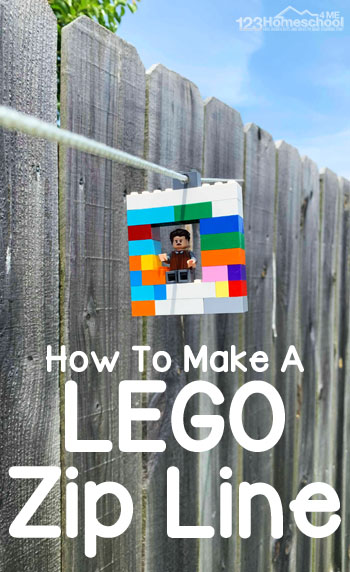How to Make an EASY Lego Zipline! This DIY Zipline is fun and easy to make, plus educational too! This is a great STEM summer activity for kids of all ages #summeractivities #summerbucketlist #lego