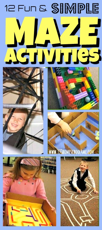 Kids will have fun with these DIY maze activities that will use practical skills, problem solving, fine motor skills, large muscle motor activity, and an epic STEM activity for kids from preschool, pre-k, kindergarten, first grade, 2nd grade, and 3rd grade students. Pick your favoritemaze activity or try several of our varied projects that use common items you will find in your home!