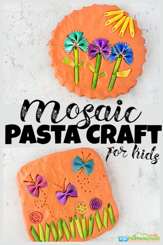 Looking for fun pasta craftsto make with leftover dyed pasta? This super prettymosaic pasta project allows kids to create beautiful pasta pictures by pressing different colored noodles into clay. Thispasta art is such a fun, engaging craft for kidsof all ages from toddler, preschool, pre-k, kindergarten, first grade, 2nd grade, and 3rd graders too.