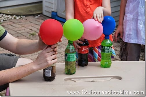 In this Pop Rock Science Experiment kids will observe balloons inflate as the carbon dioxide bubbles inside the pop rocks are released because of the high fructose corn syrup in the soda and has no where to go so it rises – filling the balloons.