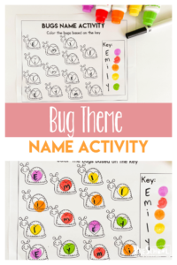 FUN preschool name recognition activities featuring cute bugs Use this bug printable for an insect theme for your kids learing their name.