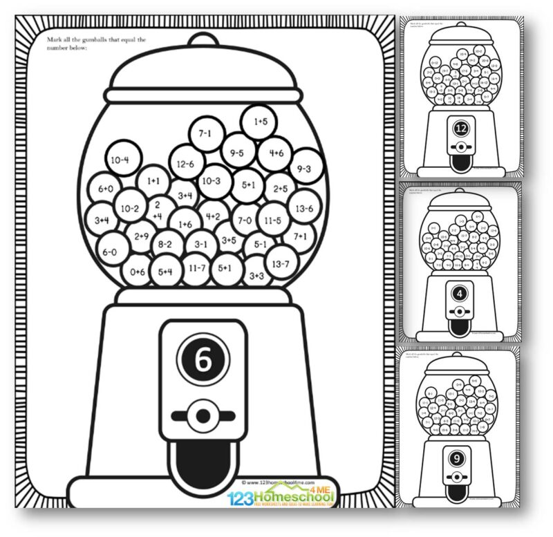 FREE Addition and Subtraction Worksheets to help kindergartners and first graders practice math