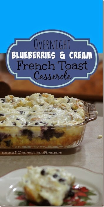 Blueberry French Toast Casserole Recipe - This casserole is awesome! Not too sweet, filled with healthy blueberries, and can be made ahead for company! Yummy
