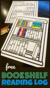 FREE Bookshelf Reading Log - super cute printable booklog to help encourage kids to read picture books, readers, and chapter books. Use as a weekly motivator for toddlers, preschoolers, prek, and kindergartners or monthly summer reading program. Plus makes a great family book club printable.