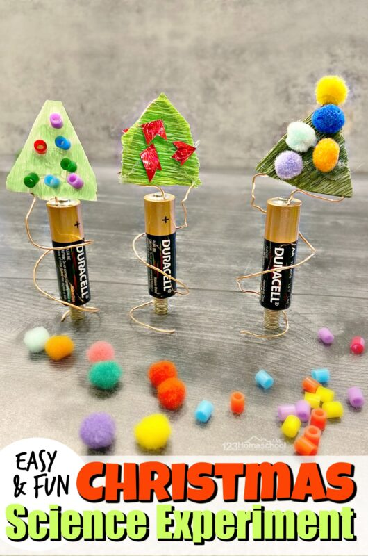 Kids are going to flip when they make they make their ownspinning Christmas tree science project. This easy electronics project is perfect for December because it combines a Christmas craft and aChristmas science experimentto make one EPIC Christmas STEM project for kinderarten, first grade, 2nd grade, 3rd grade, 4th grade, 5th grade, 6th grade, 7th grade, and 8th grade students. This festive, holiday Christmas activity for kids is a must try this year!
