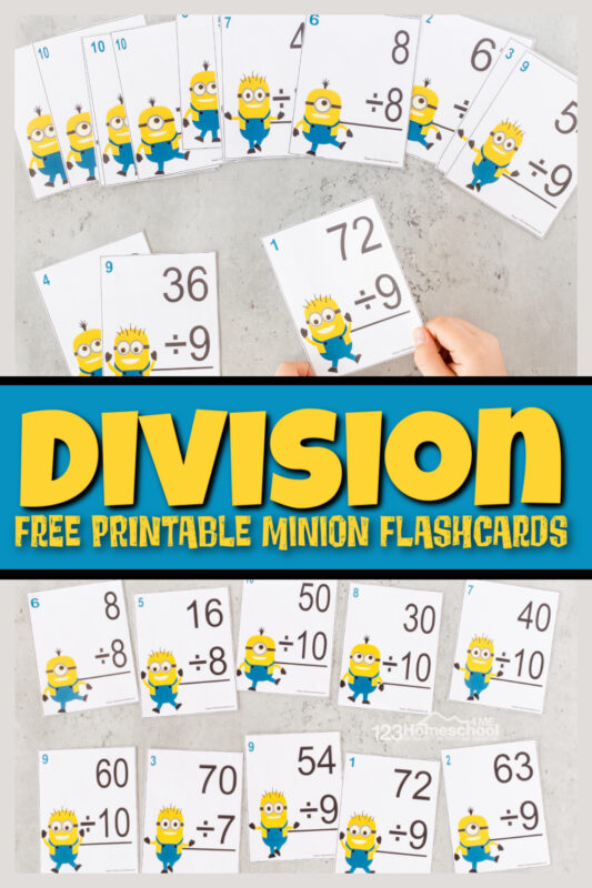 Practice makes perfect! Super cute, Minion Printables make practicing fun. Download Free Division Math Flashcards Printable pdf.