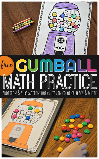 FREE Gumball Addition & Subtraction Worksheets - these cute and clever math worksheets will help kindergarten, first grade, 2nd grade, 3rd grade students. Print in color and use with magnets or in black and white and color to complete #mathworksheets #kindergarten #firstgrade