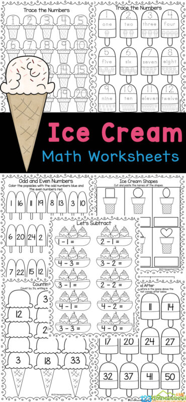 Sneak in some fun summer math with these too cute ice cream math worksheets! This free printable ice cream math pages include a variety of activities for preschool, pre-k, kindergarten, and first grade students. Plus these ice cream math games are so cute kids will be excited for some summer learning with this ice cream activity. Simply printice cream math activity and you are ready to play and learn!