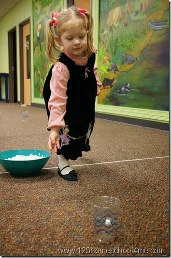Marshmallow toss temptation game for kids