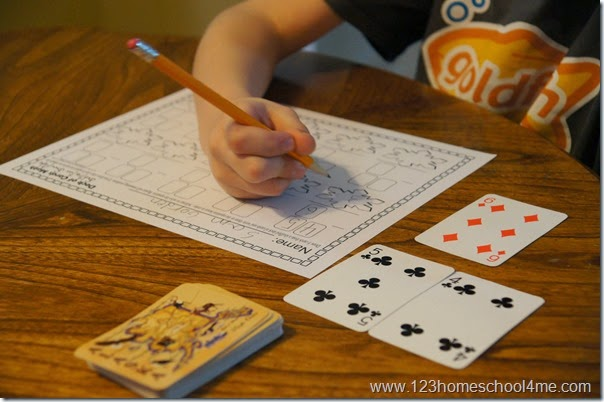 Math Games Using Playing Cards! Use these Math Worksheet with a deck of cards to practice subtraction with first grade, 2nd grade, and 3rd grade students