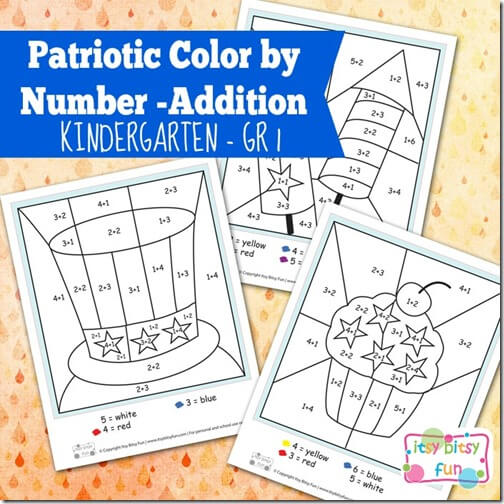 FREE Patriotic Color by Addition Math Worksheets - fun math practice for Kindergarten-3rd grade.