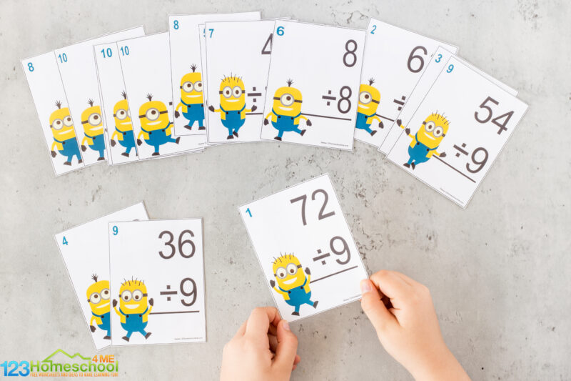 Printable division flashcards
