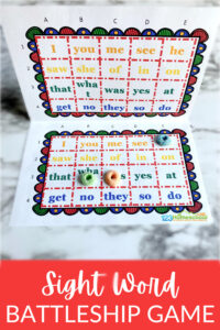 The best way to get relucatant readers to practice pre-k andkindergarten sight words is using a funsight word game. One of my kids' favorite games is battleship, so I decided to whip up afree sight word game in a battleship style. Thissight word activitywas a huge hit and made my students excited to practice reading! Simply downloadsight word games for kindergartenand you are ready to play, read, and LEARN!