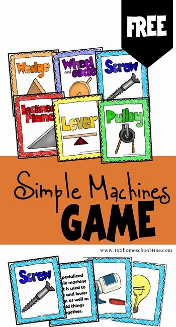 Simple Machines Game is a free printable science game for Kindergarten, 1st grade, 2nd grade, 3rd grade, 4th grade, and 5th grade students to learn about the six simple machines:Wedge, Wheel & Axel, Screw, Inclined Plane, Lever, and Pulley. Great for hands on science activities, review or summer learning!