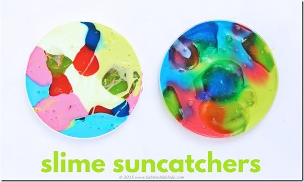 Slime Suncatcher Kids Activity - This is such a FUN, clever activity that will make such beautiful sun catchers. Great summer activity for kids of all ages.