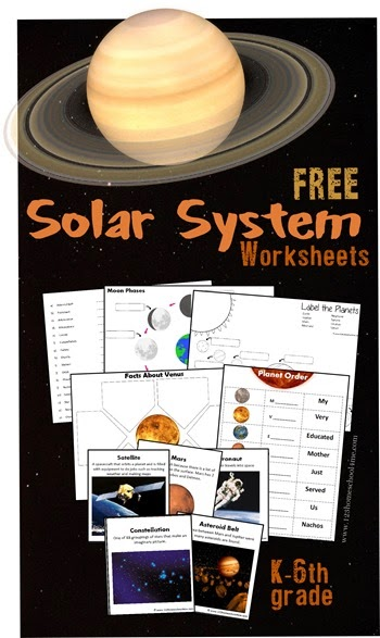 Solar System Worksheets for Kids - Great FREE pack for elementary age kids including moon phases, planets, vocabulary flashcards, vocabulary quiz, planet facts, and more!