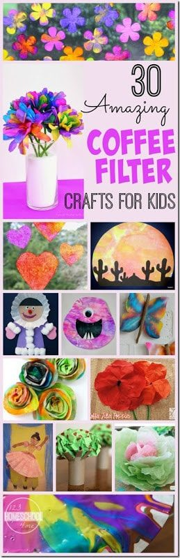 30 Amazing Coffee Filter Crafts - lots of really fun and creative crafts for kids to make using coffee filters. Perfect for toddler, preschool, kindergarten, and elementary age kids! #craftsforkids #artprojects #preschool