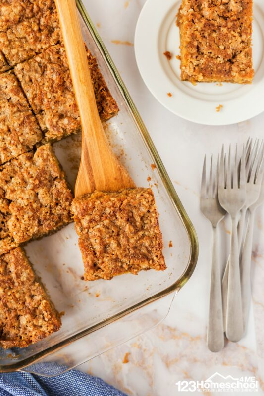 cut streusel topped zucchini bread into 12 large pieces