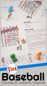 Baseball themed Division math game