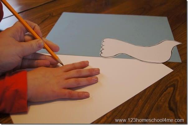 dove hand art craft for kids