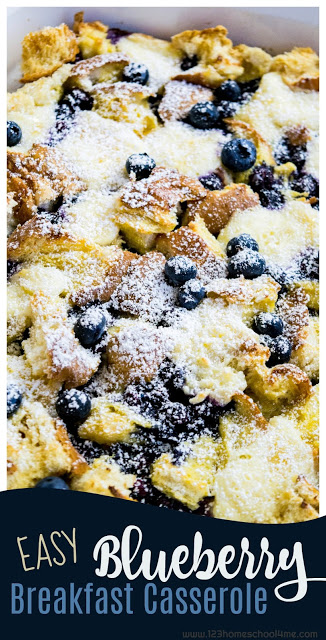 EASY Blueberry Breakfast Casserole - this is super easy and oh so yummy! It is easily made ahead and refrigerated up to 5 days before cooking. This breakfast recipe tastes like summer - blueberries and cream. My family calls it my Blueberry French Toast Casserole. It is a much requested recipe. Yummy! #recipes #breakfast #yummy