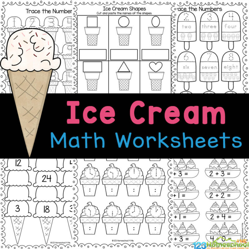 Sneak in some fun summer math with these cute ice cream math worksheets! This free ie cream printables practice counting, traicng, and more!