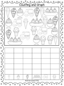 ice cream math worksheets graphing