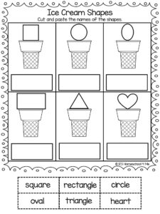 ice cream shapes cut and paste worksheets